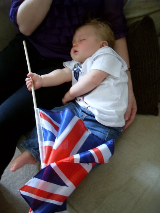 Atta Girl: Watching the royal wedding in 2011. All that patriotic flag flapping proving to be exhausting for my Soph.